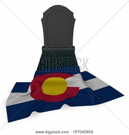 gravestone and flag of colorado - 3d rendering