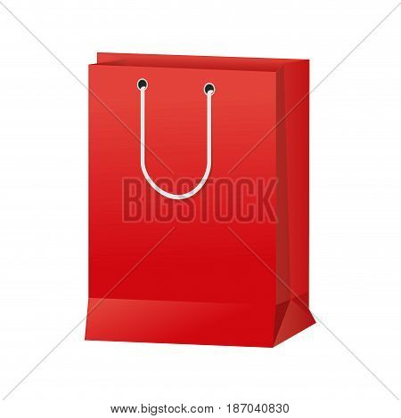 red paper bag gift present package empty vector illustration