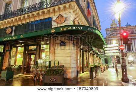 Paris France-May 08 2017: The famous cafe de la Paix located near opera house -Garnier palace in Paris France. It had been inaugurated on May 5th 1862.