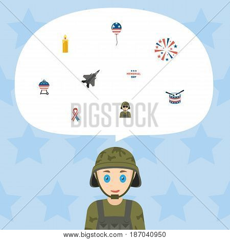 Flat Aircraft, Firecracker, Musical Instrument And Other Vector Elements. Set Of Day Flat Symbols Also Includes Firecracker, Fighter, Wax Objects.