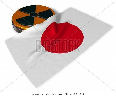 nuclear symbol and flag of japan on white background - 3d illustration