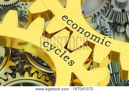 Economics Cycles concept on the gearwheels 3D rendering