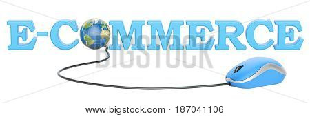 global e-commerce concept 3D rendering isolated on white background
