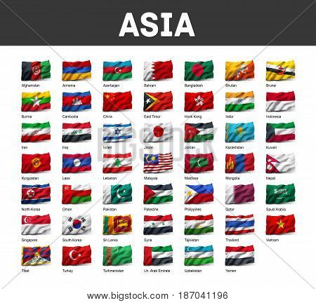 Set Of Asia Flags