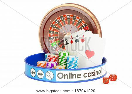 Online Casino concept 3D rendering isolated on white background