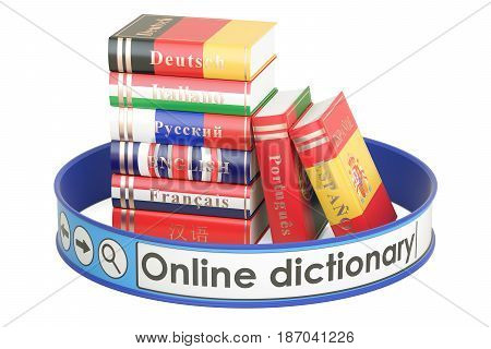 Online Dictionary concept 3D rendering isolated on white background
