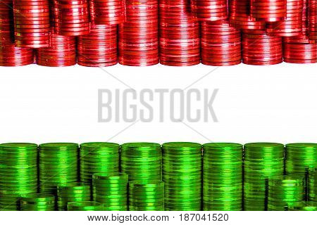 hungarian money flag constructed from stacks of coins