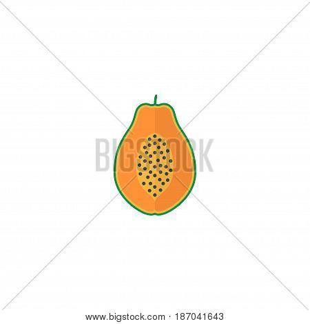 Flat Papaya Element. Vector Illustration Of Flat Pawpaw Isolated On Clean Background. Can Be Used As Papaya, Pawpaw And Fruit Symbols.
