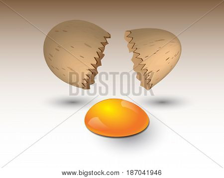 Broken egg on a brown background with coming out with two broken eggs egg yolk particles of timyamy and reflections
