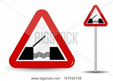 Road sign Warning Drawbridge. In Red Triangle are schematically depicted coast, water and bridge. Vector Illustration. EPS10