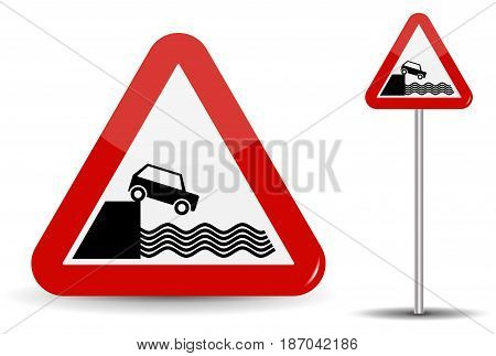 Road sign Warning Departure to embankment. In Red Triangle, the coast, water and car are schematically depicted. Vector Illustration. EPS10