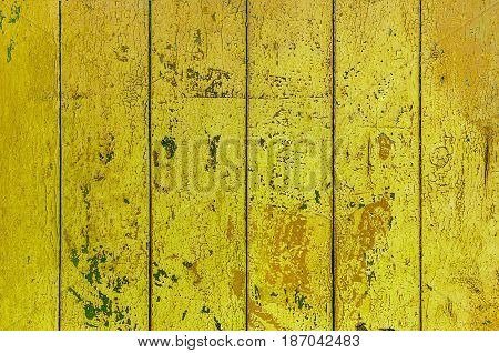Yellow old boards of wood grange background texture