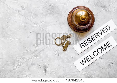 booking form for hotel room reservation on stone table background top view space for text