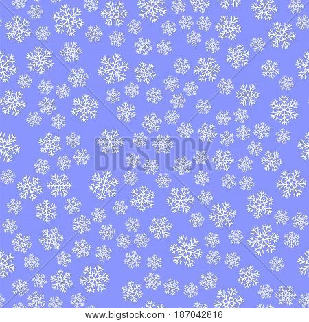 Show Flakes Seamless Pattern on Blue Sky Background. Winter Christmas Natural  Texture
