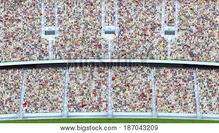many spectators in the stadium. 3d rendering