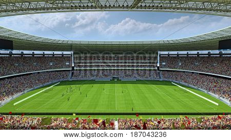 inside the football stadium with fans. 3d rendering