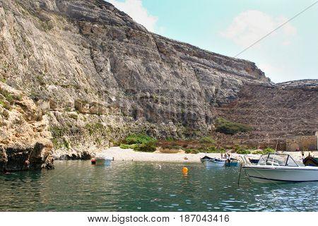 Malta, Gozo Island, Panoramic View Of Dwejra Internal Lagoon