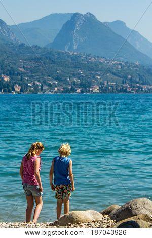 Lake Garda Italy - June 7 2014: children on vacation at Lake Garda