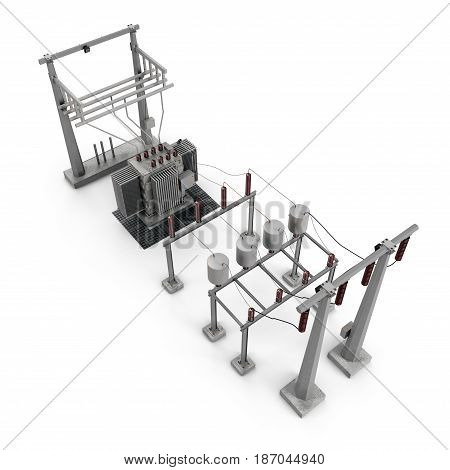 Electric power equipment in a substation on white background. 3D illustration