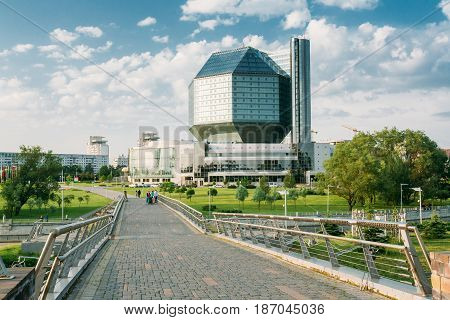 Minsk, Belarus - June 3, 2014: Building Of National Library Of Belarus In Minsk. Famous Symbol Of Belarusian Culture And Science