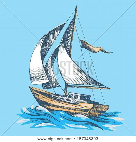 Sailing boat with a flag vector sketch stylized waves sea boat floats on water Hand-drawn color.