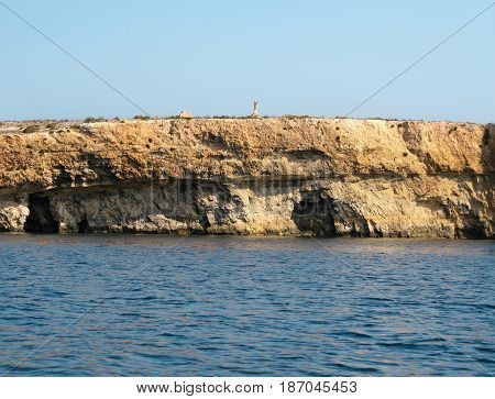 View Of Coastline With Generic Rock, Gozo, Malta