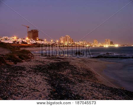 BLOUBERG STRAND, CAPE TOWN, SOUTH AFRICA,  NIGHT LIGHTS