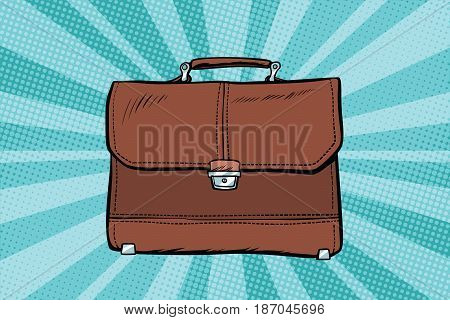 business leather briefcase. Pop art retro vector illustration drawing