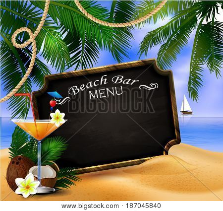 tropical vector background with leaves of palm trees summer sky and clouds wooden frame and chalk board for beach bar or restaurant menu coconut and glass of beverage on a sand beach.
