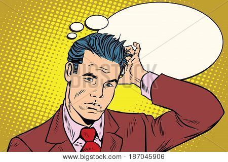 puzzled businessman business people. Pop art retro vector illustration drawing
