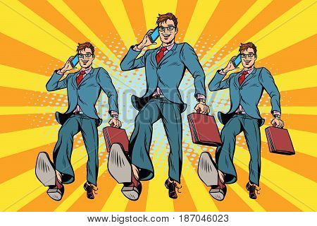 Several businessmen with telephone marching. Pop art retro vector illustration drawing