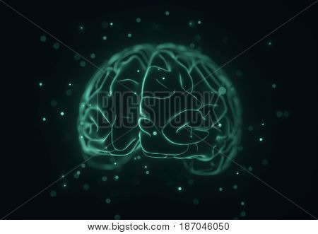 3D illustration. Stylized image of a brain inside a liquid with air bubbles around.