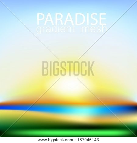 Summer background gradient mesh beach and ocean. Background for travel cards.