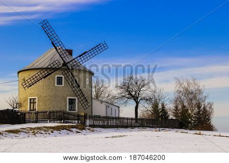 An old and historic wind mill used in past century in Jednov village, Hana region near Olomouc and Prostejov.