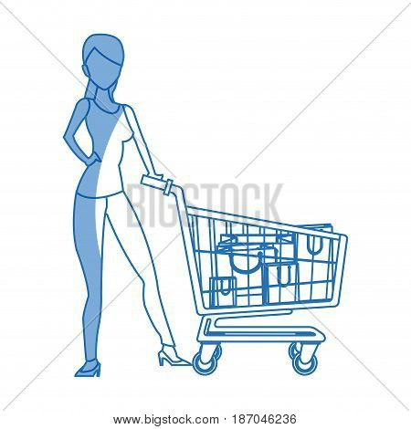 silhouette woman cart shopping bag commerce vector illustration
