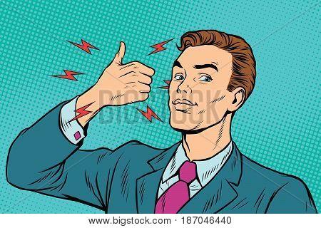 businessman like hand gesture. Pop art retro vector illustration drawing