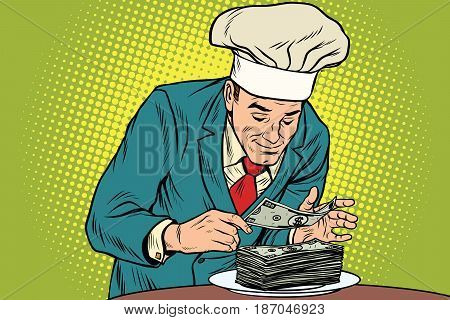 Businessman chef and the final banknote. Business and Finance. Precision and accuracy. Pop art retro vector illustration drawing
