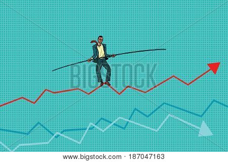 businessman tightrope Walke, schedule of sales. African American people. Pop art retro vector illustration drawing