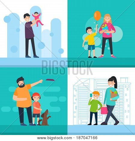 Colorful happy people square concept with child birth holidays active recreation and shopping vector illustration