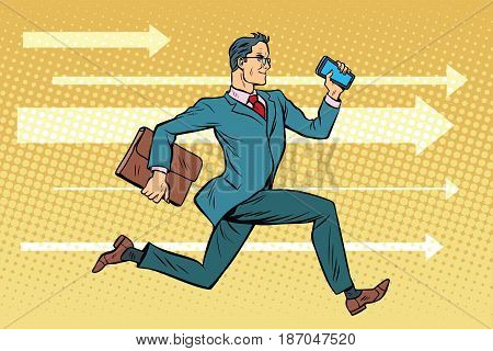 Businessman with a smartphone running fast forward. Pop art retro vector illustration drawing