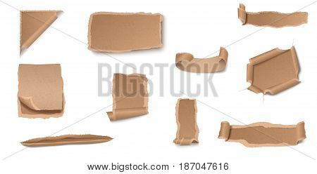 Ragged and torn craft paper collection of different shapes and forms on white background isolated vector illustration