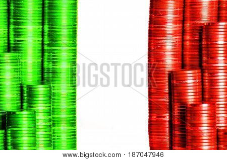 italian money flag constructed from stacks of coins
