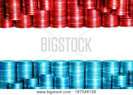 luxembourgian money flag constructed from stacks of coins