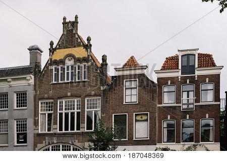 Gouda Netherlands - August 4 2016: Typical architecture buildings in the dutch city of Gouda