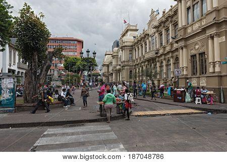 SAN JOSE, COSTA RICA - MARCH 23, 2017: Pedestrian Area Plaza de Juan Rafael Mora (Calle 2), San Juan, Costa Rica