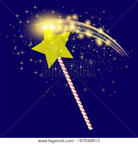 Realistic Magic Wand with Starry Lights on Blue Background