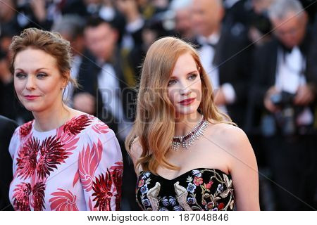 Maren Ade,  Jessica Chastain attends the 'Ismael's Ghosts (Les Fantomes d'Ismael)' screening and Opening Gala during the 70th annual Cannes Film Festival at Palais  on May 17, 2017 in Cannes, France.