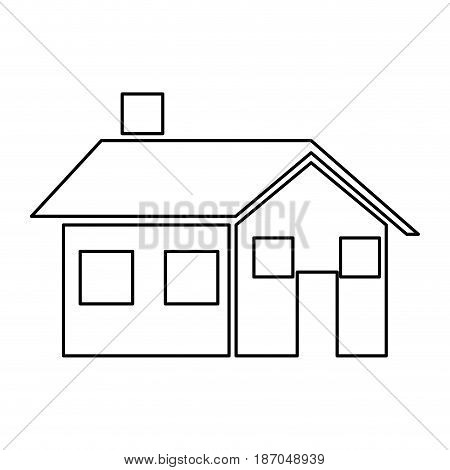 house home real estate chimney window vector illustration