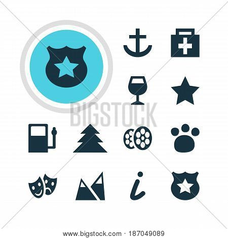 Vector Illustration Of 12 Location Icons. Editable Pack Of Cop, Refueling, Masks And Other Elements.