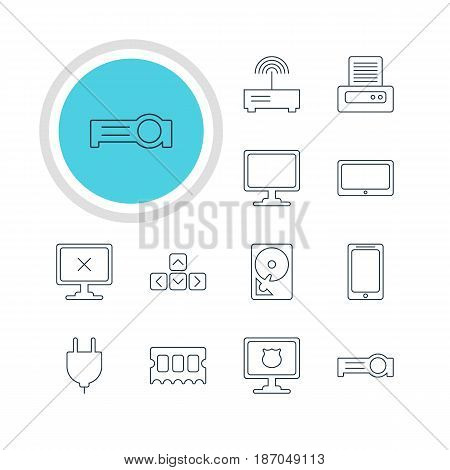 Vector Illustration Of 12 Notebook Icons. Editable Pack Of Router, Access Denied, Screen And Other Elements.